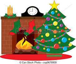 stock illustration of christmas tree by a fireplace decorated with