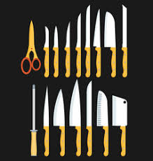 different kitchen knives different types of kitchen knives set royalty free vector