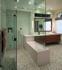 aqua glass tile mosaic headboard bathroom contemporary with white