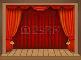 Theater Drop Curtain Theatre Stage With Curtains And Audience Waiting Royalty Free