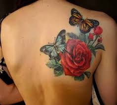 butterflies with roses shoulder blade ideas designs