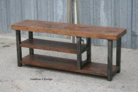 Industrial Bench Vintage Industrial Bench Solid Reclaimed Wood Steel Seating Wood