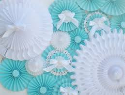 white paper fans aqua white paper fans table backdrop or photo backdrop with