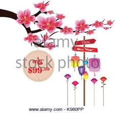 sale label design with flowers cherry blossoms and