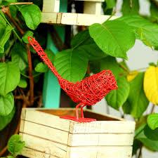 red wired bird decor wire sparrow garden u0026 home decor indoor