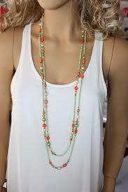 orange beaded necklace images Extra long bright green and reddish orange beaded necklace multi jpg