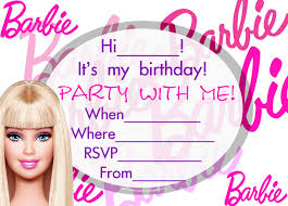 Invitation Card Party Birthday Barbie Birthday Invitations Templates Margie U0027s Pins Pinterest