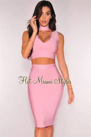 two dress set pink choker bandage two set