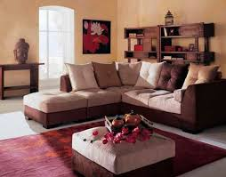 awesome living room with brown white sofa color red rug and white