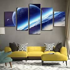 art painting for home decoration 5pcs night sky interstellar space globe canvas wall painting