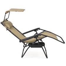 Outdoor Canopy Chair Folding Zero Gravity Recliner Lounge Chair With Canopy Shade