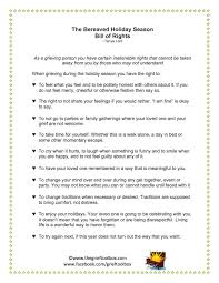 the bereaved season bill of rights the grief toolbox