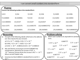 converting decimals into standard form mastery worksheet by