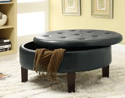 round leather coffee table living round grey with tufted leather ottoman coffee table for