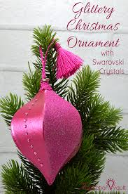Christmas Ornament With Photo Glittery Christmas Ornament With Swarovski Crystals The