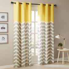 Gray And White Chevron Curtains alex chevron printed grommet top panel pair bright yellow