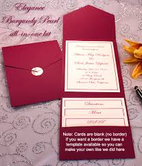 pocket invitation kits print your own burgundy wedding invitations burgundy pocket