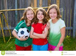 three sister girls friends soccer football winner players stock