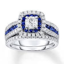 Diamond Sapphire Wedding Ring by Kay Sapphire Bridal Set 1 Carat Tw Diamonds 14k White Gold