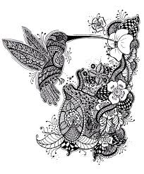 black and white ornamented hummingbird and flower garden tattoo