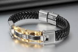braided steel bracelet images Crucible men 39 s braided leather and stainless steel bracelet sophgent jpg