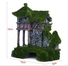 aquarium resin moss ancient house fish tank ornament fish shrimp