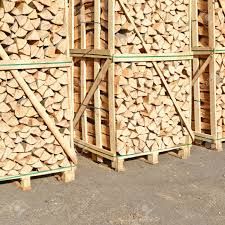 chipped fire wood in packing on pallets stock photo picture and