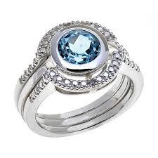 ring set sevilla silver diamond accented citrine 3 ring set