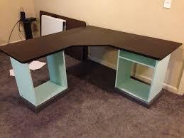 Office Desk Design Plans Furniture Brown Varnished Wooden Diy L Shaped Office Desk With