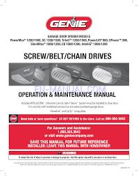 Overhead Garage Door Opener Manual by Genie Intellicode Garage Door Opener Owner S Manual Wageuzi
