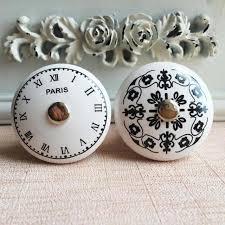 black ceramic cabinet knobs aliexpress com buy black white time clock round ceramic cabinet