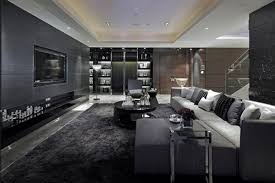 LuxuriousLivingRoomDesignwithBlackGreyFurnitureandGrey - Living room design grey