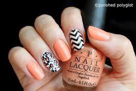 nail art peach black and white skittlette for spring