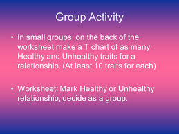 Healthy And Unhealthy Relationships Worksheets Do Now 4 How Would You Define A Relationship Ppt