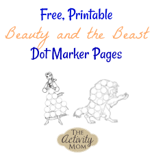 the activity mom beauty and the beast dot marker pages