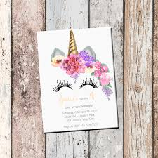 unicorn personalized birthday invitation 1 sided birthday card