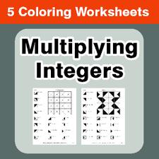 multiplying integers coloring worksheets