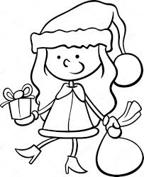 santa claus kid cartoon coloring page u2014 stock vector izakowski
