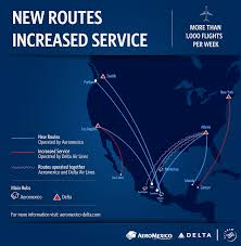 Delta Routes Map by Delta And Aeromexico Expand Options For U S Mexico Travel Delta