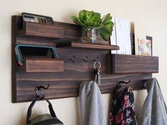 Diy Entryway Organizer Entryway Coat Rack Mail Storage And Key Hooks From Midnight