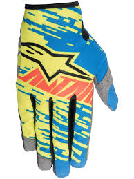 gloves motocross alpinestars blue yellow red 2016 racer braap kids mx gloves