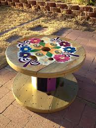 Cable Reel Table by Painted Cable Reel Table Inside Out Pinterest Cable