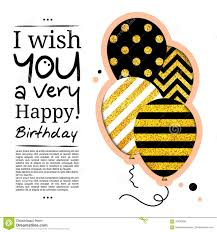 birthday card in the style of cutouts with balloons on golden