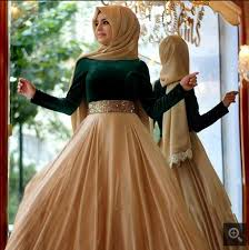 ball gown dark green muslim long sleeve prom dress high neck dubai
