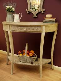 Half Moon Accent Table Traditional Carving On Small Pulled Drawer In Old Fashioned Half
