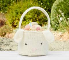 baby s easter basket baby s knit easter basket pottery barn kids