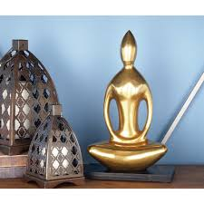 Buddha Home Decor Statues by 15 In Meditating Buddha Decorative Statue In Chromate Coated