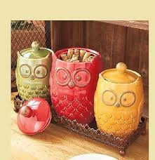 owl kitchen canisters 4 owl canisters tray set counter decor collection ceramic