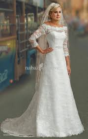 wedding dresses modest 3 4 long sleeves white lace a line bridal