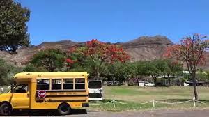Hawaii travel bus images Diamond head kapiolani park red tree school bus hawaii honolulu jpg